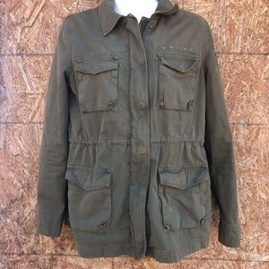 Tommy Hilfiger Womens Military Jacket Green Zip Up